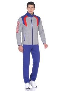 Мужской спортивный костюм утепленный с символикой России и гербом синий (12M-RR-1192)