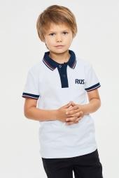 Детское поло с символикой RUS белое (65C-RR-785/3-3)