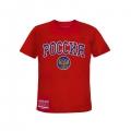 Детская футболка с гербом и надписью Россия красная (арт.131920)