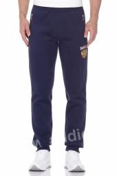 Мужские спортивные штаны на манжетах теплые темно-синие с российским гербом (22M-RR-1036/1)