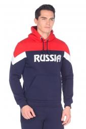 Мужской спортивный костюм утепленный футер темно-синий (12M-RR-1092)