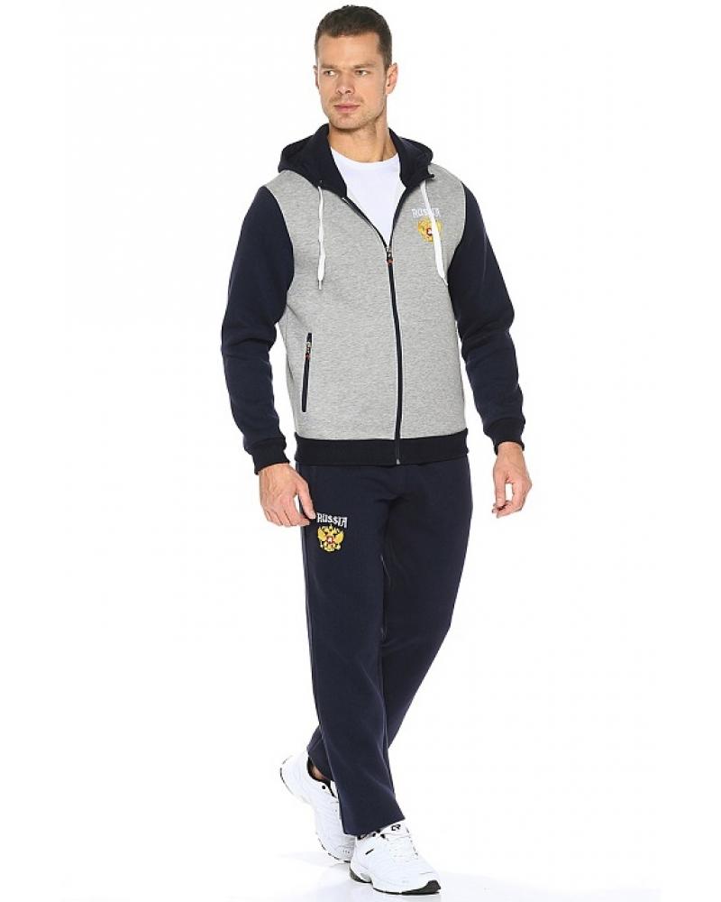 500acae0 Мужской спортивный костюм утепленный светло-серый Россия с гербом  (12M-RR-1028-2)