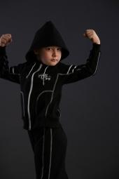Детский спортивный костюм хлопкойвый с лайкрой черный (KT 56-132)